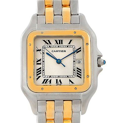 Cartier Panthere Jumbo Steel 18K Yellow Gold Two Row Watch SwissWatchExpo