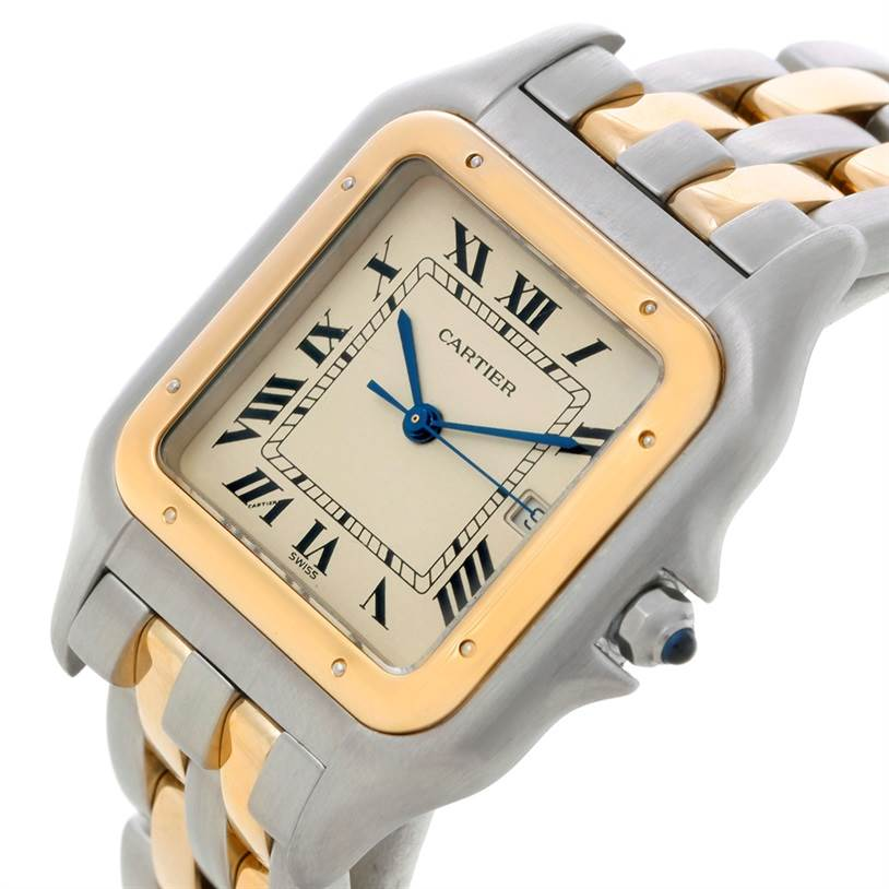 8393 Cartier Panthere Jumbo Steel 18K Yellow Gold Two Row Watch SwissWatchExpo