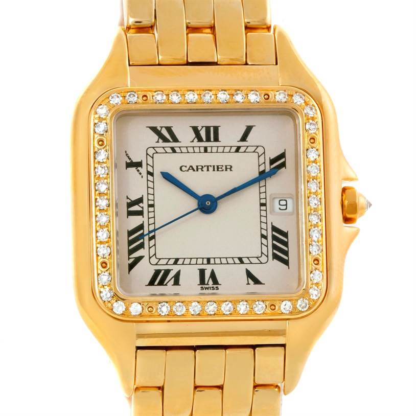 9408 Cartier Panthere Jumbo 18K Yellow Gold Diamond Watch SwissWatchExpo