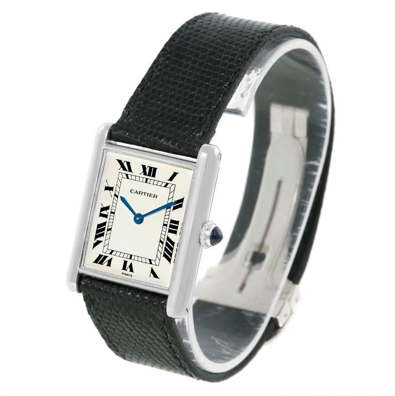 Cartier Tank Classic Paris 18k White Gold Ultra Thin Mechanical Watch SwissWatchExpo