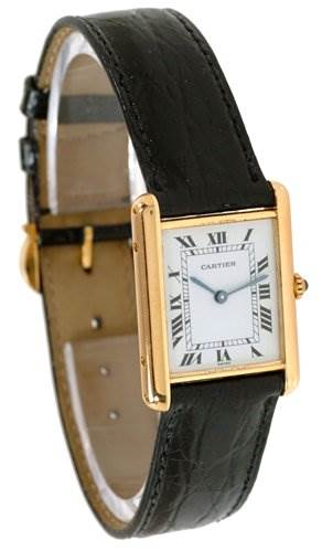 2146 Cartier Mens 18k Yellow Gold Classic Tank Quartz Watch SwissWatchExpo