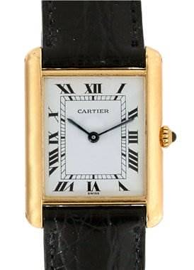 Photo of Cartier Mens 18k Yellow Gold Classic Tank Quartz Watch