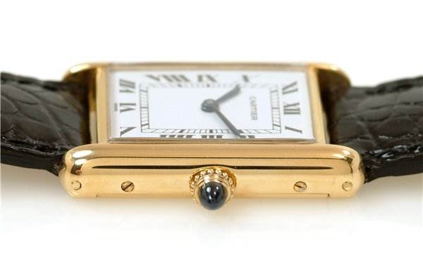 1211WC Cartier Mens 18k Yellow Gold Tank Classic Watch SwissWatchExpo