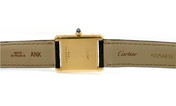 Cartier Mens 18k Yellow Gold Tank Classic Watch SwissWatchExpo