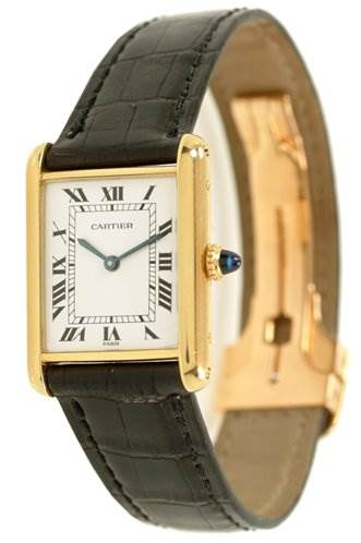 WC511 Cartier Mens 18k Yellow Gold Tank Classic Watch SwissWatchExpo