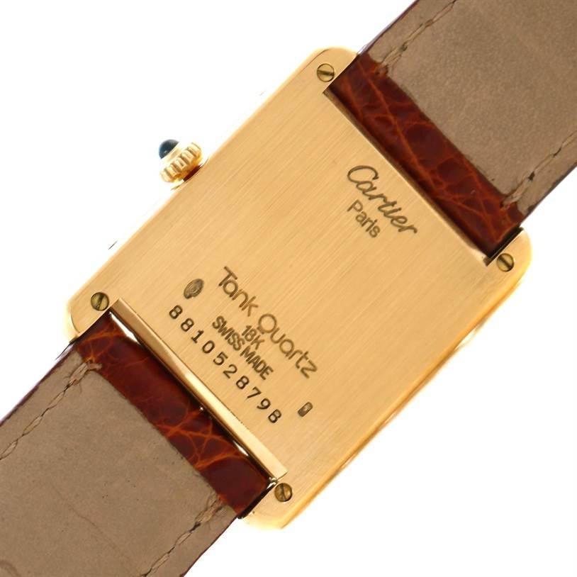 Cartier Tank Classic Paris 18K Yellow Gold Brown Strap Quartz Watch SwissWatchExpo