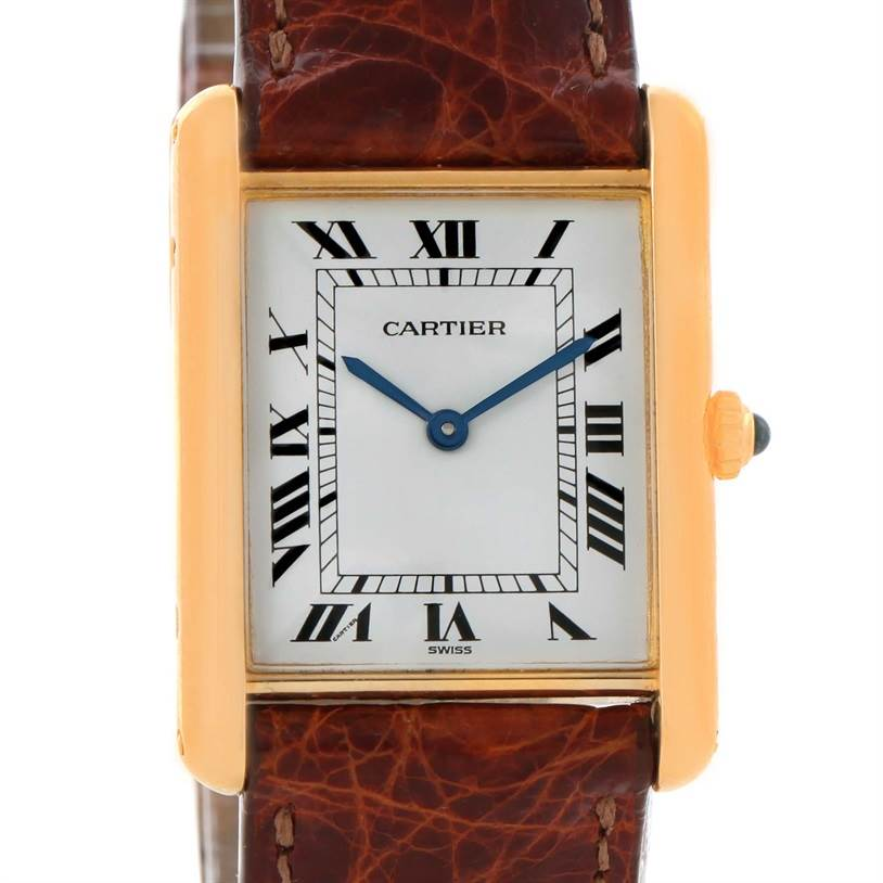 11702 Cartier Tank Classic Paris 18K Yellow Gold Brown Strap Quartz Watch SwissWatchExpo