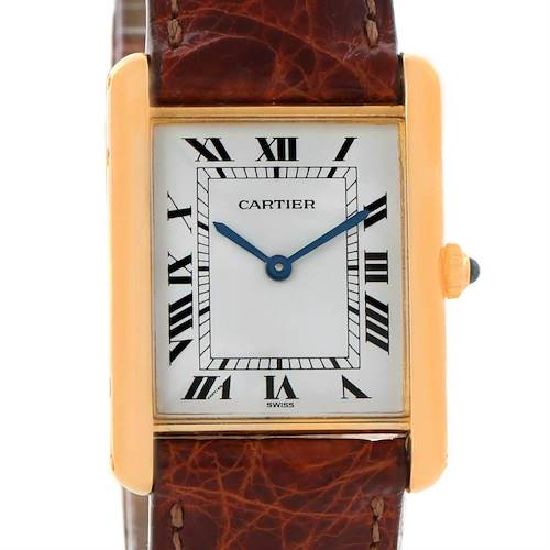 Photo of Cartier Tank Classic Paris 18K Yellow Gold Brown Strap Quartz Watch