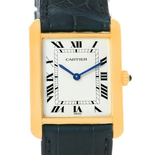 Photo of Cartier Tank Classic Paris 18K Yellow Gold Blue Strap Quartz Watch