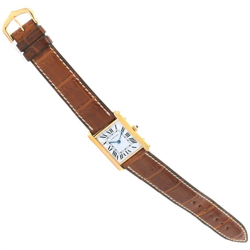 Cartier Tank Classic Paris 18K Yellow Gold Brown Strap Unisex Watch SwissWatchExpo