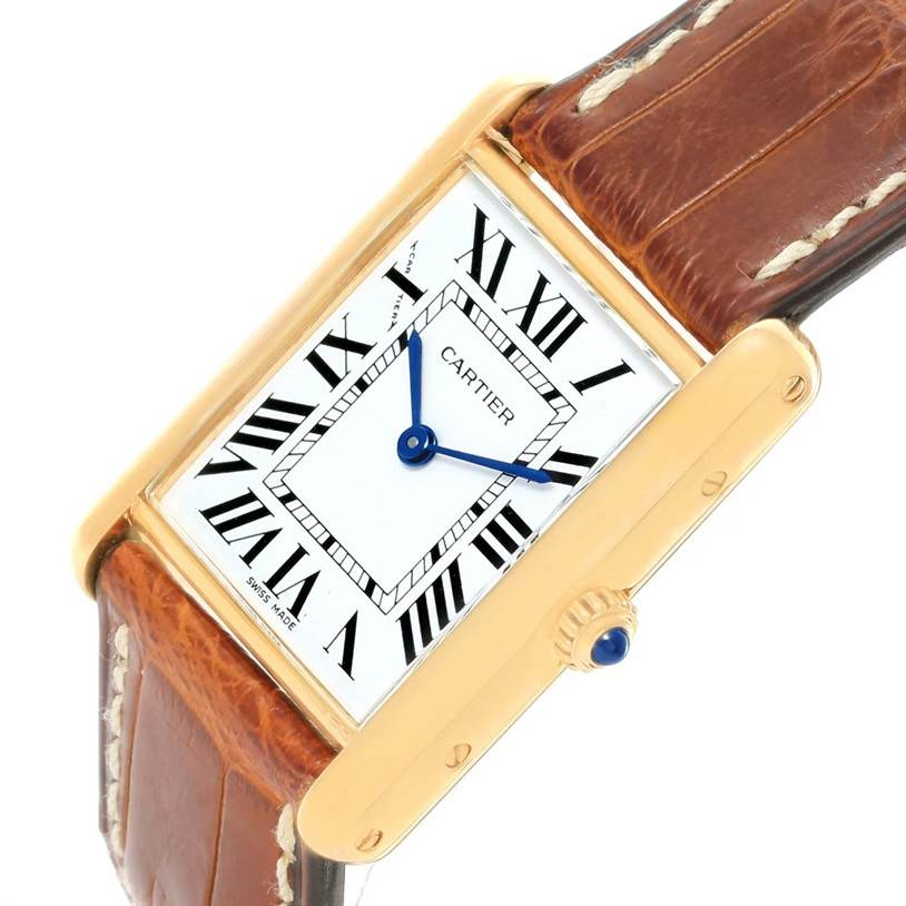 11179 Cartier Tank Classic Paris 18K Yellow Gold Brown Strap Unisex Watch SwissWatchExpo