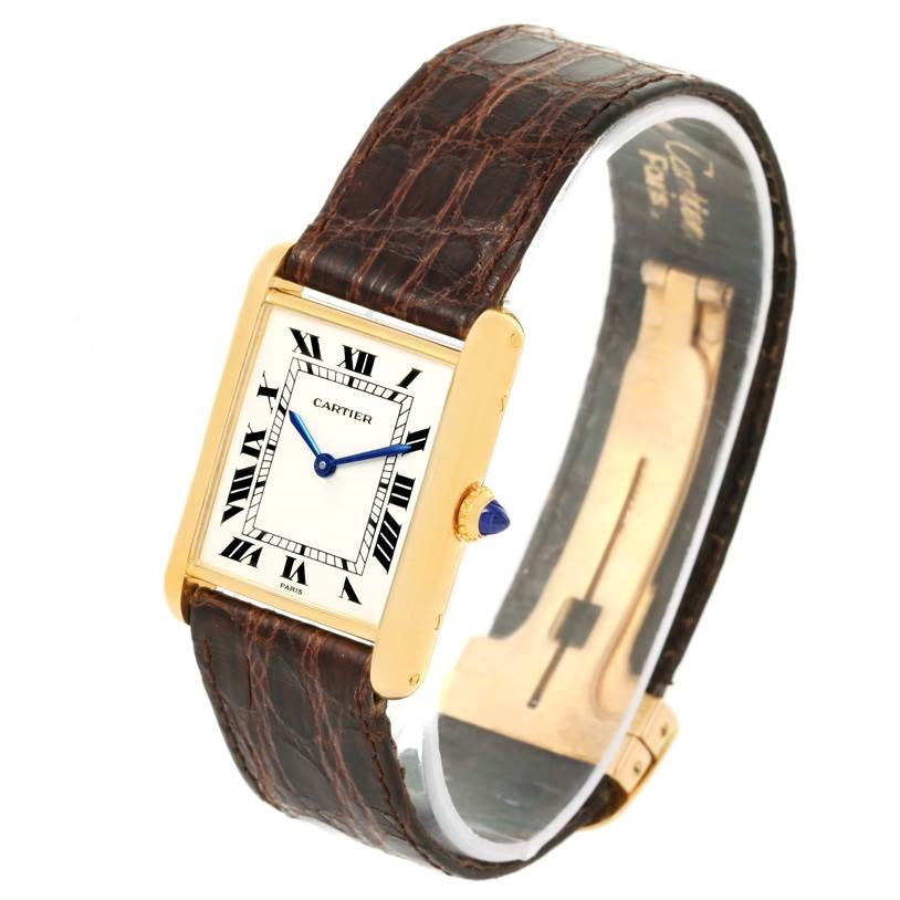 12683 Cartier Tank Classic Paris 18K Yellow Gold Brown Strap Unisex Watch SwissWatchExpo