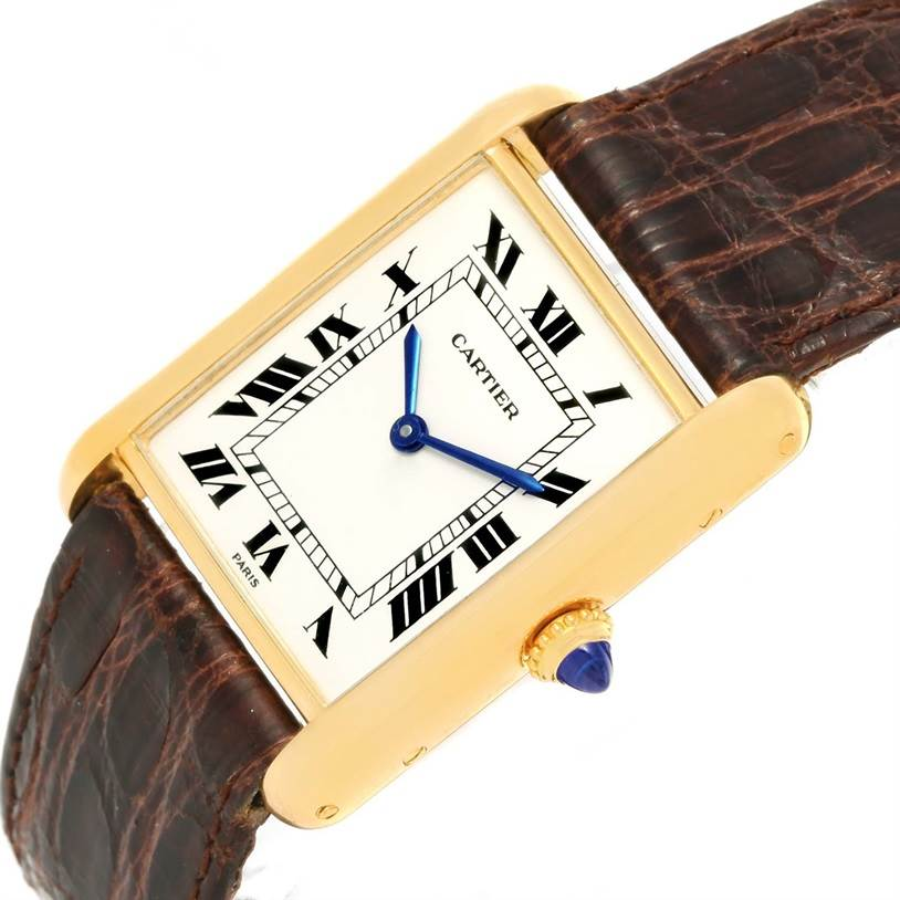 12683 Cartier Tank Classic Paris 18K Yellow Gold Brown Strap Unisex Watch SwissWatchExpo