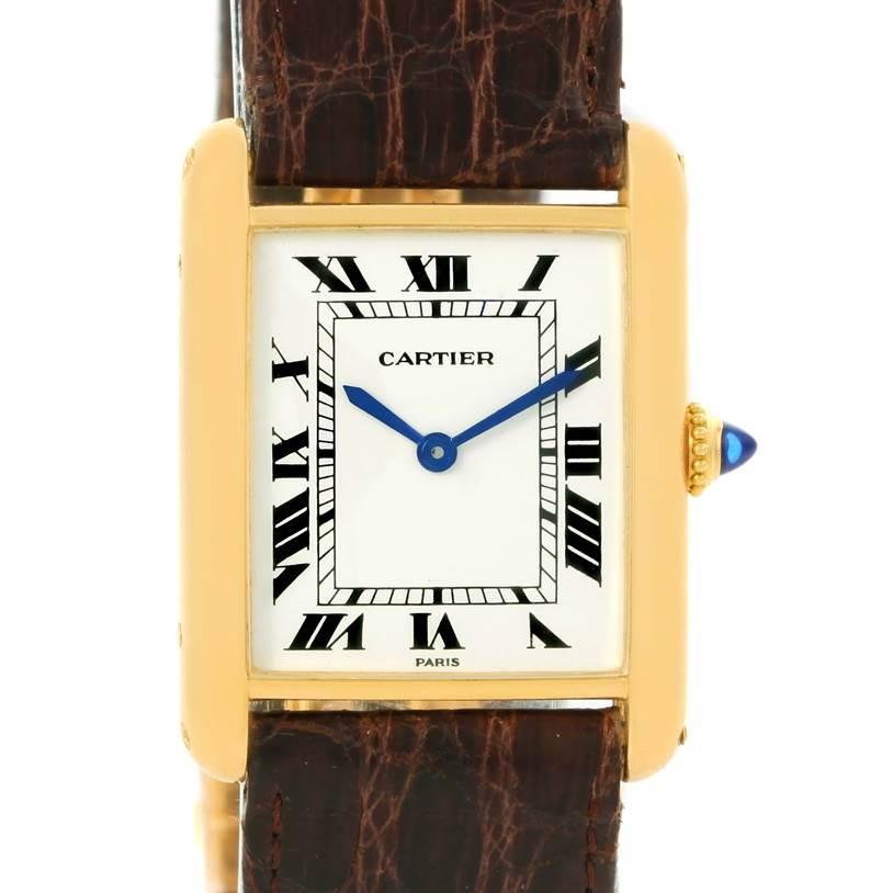 Cartier Tank Classic Paris 18K Yellow Gold Brown Strap Unisex Watch SwissWatchExpo