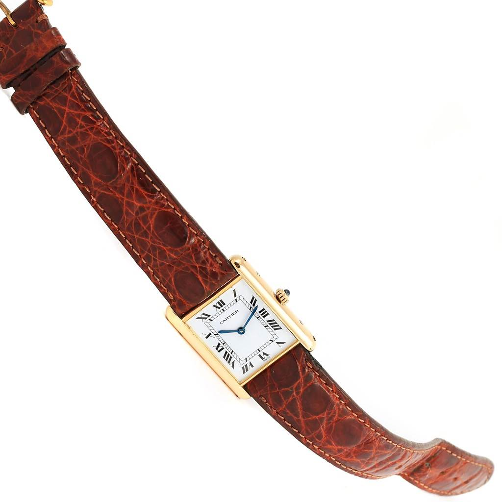 12684 Cartier Tank Classic Paris 18K Yellow Gold Brown Strap Unisex Watch SwissWatchExpo