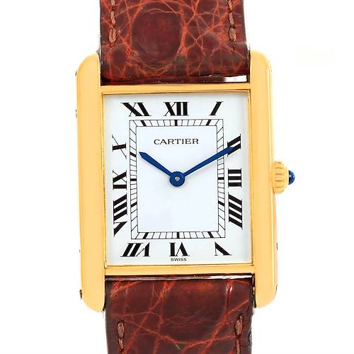 Photo of Cartier Tank Classic Paris 18K Yellow Gold Brown Strap Unisex Watch