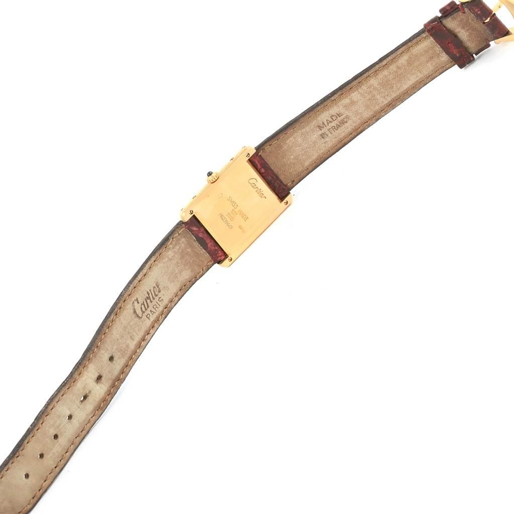 15235 Cartier Tank Classic 18K Yellow Gold Burgundy Strap Unisex Watch 1140 SwissWatchExpo