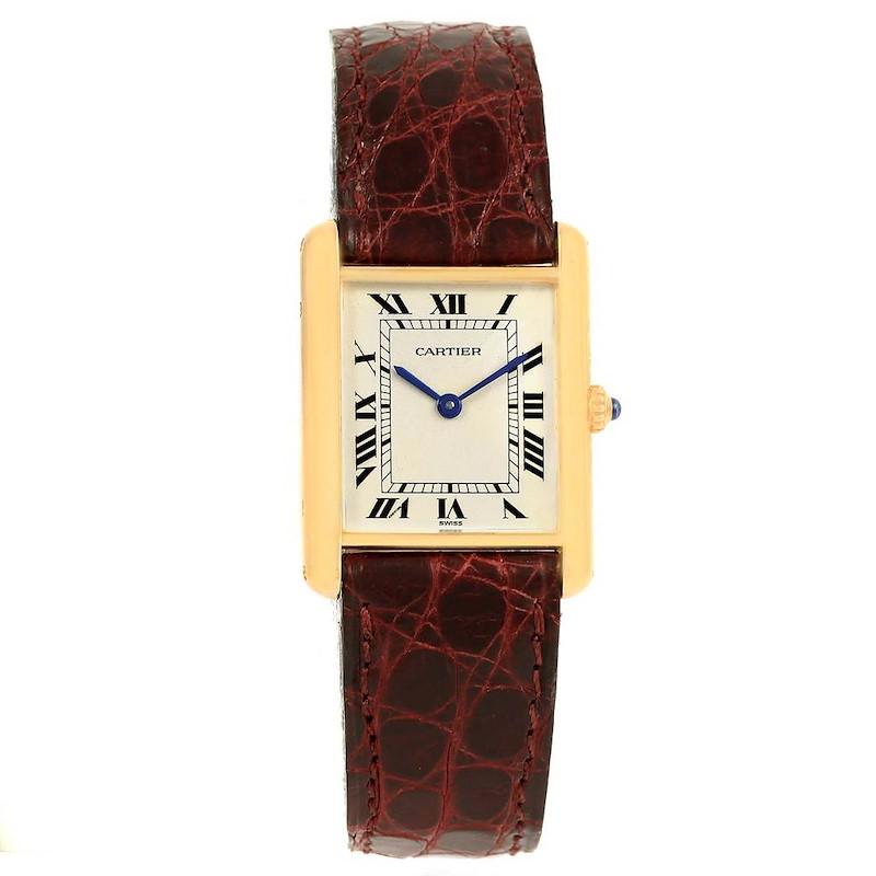Cartier Tank Classic 18K Yellow Gold Burgundy Strap Unisex Watch 1140 SwissWatchExpo