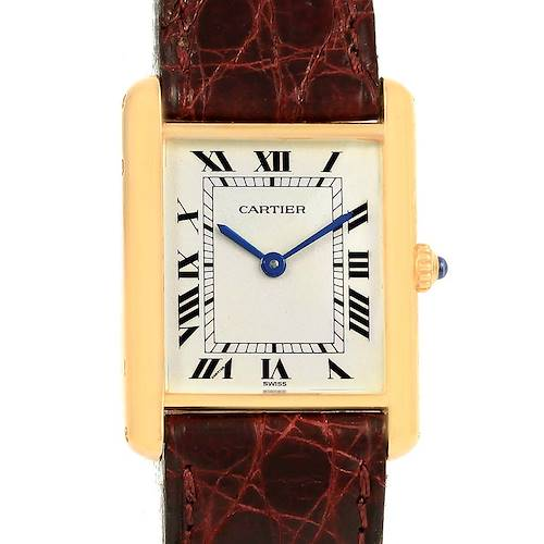 Photo of Cartier Tank Classic 18K Yellow Gold Burgundy Strap Unisex Watch 1140