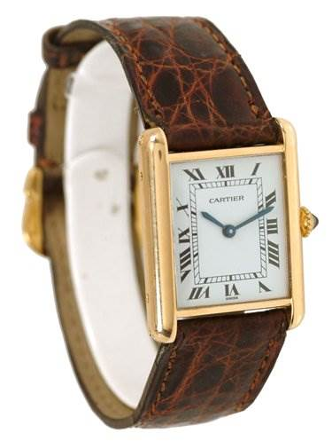 1366WC Cartier Mens 18k Yellow Gold Tank Classic Watch SwissWatchExpo