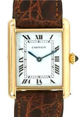 Photo of Cartier Mens 18k Yellow Gold Tank Classic Watch
