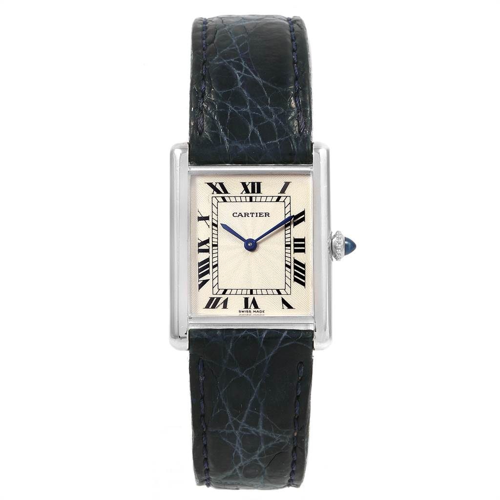 21728 Cartier Tank Classic Platinum Privee Ultra Thin Mens Watch Box Papers SwissWatchExpo
