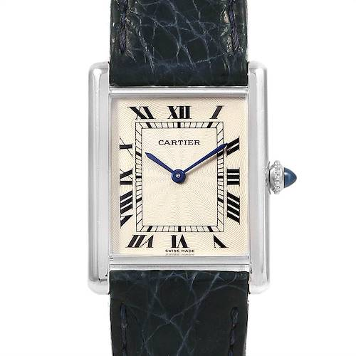 Photo of Cartier Tank Classic Platinum Privee Ultra Thin Mens Watch Box Papers