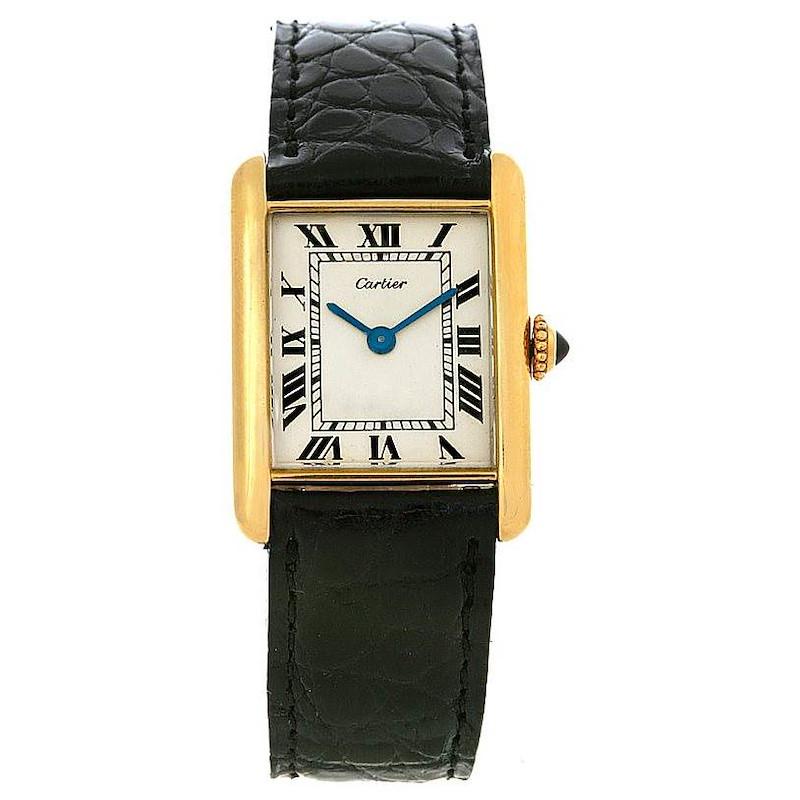 Cartier Tank Classic 18k Gold Jaeger Lecoultre Movement Watch SwissWatchExpo