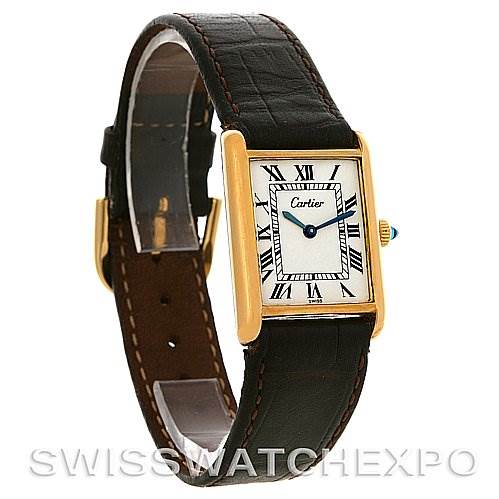 2513 Cartier Tank Classic Gold Plated Mechanical Watch White Roman Dial SwissWatchExpo