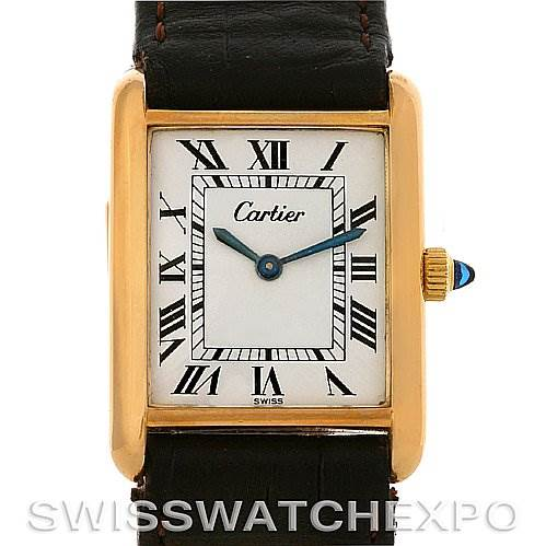 Cartier Tank Classic Gold Plated Mechanical Watch White Roman Dial SwissWatchExpo