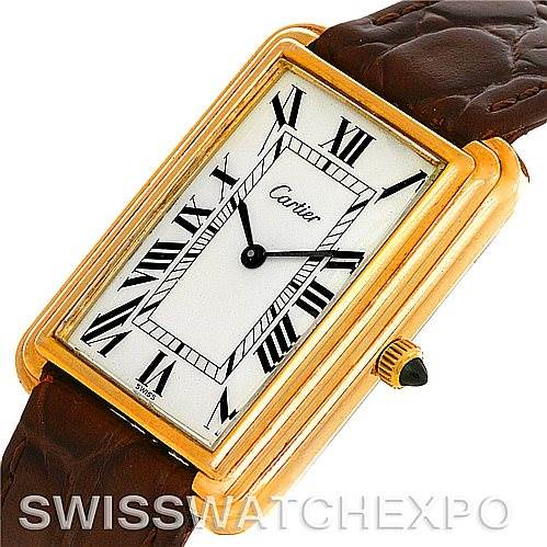 Cartier Mens Vintage Gold Plated Stepped Bezel Watch SwissWatchExpo