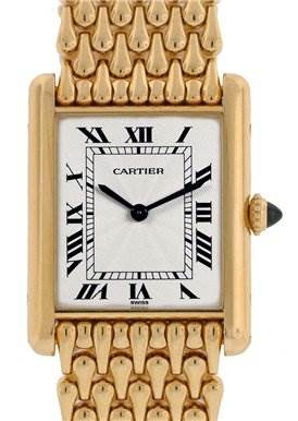 1016WC Cartier Mens 18k Yellow Gold Ultra Thin Tank Classic Watch SwissWatchExpo