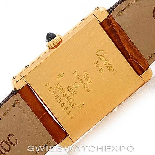 6307 Cartier Tank Classic Paris Ultra Thin Manual 18k Yellow Gold Mens Watch SwissWatchExpo