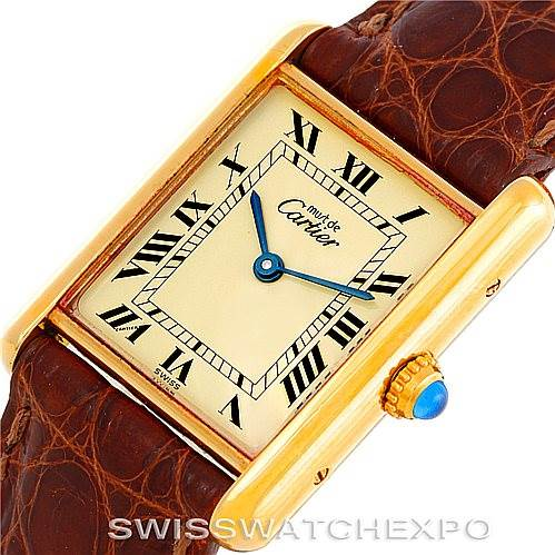 6432 Cartier Tank Classic Paris Yellow Gold Plaque Mens Watch W002953 SwissWatchExpo