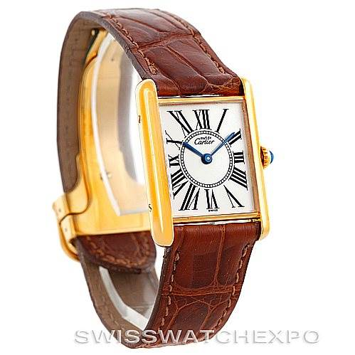6433 Cartier Tank Classic Paris Yellow Gold Plaque Mens Watch W002953 SwissWatchExpo