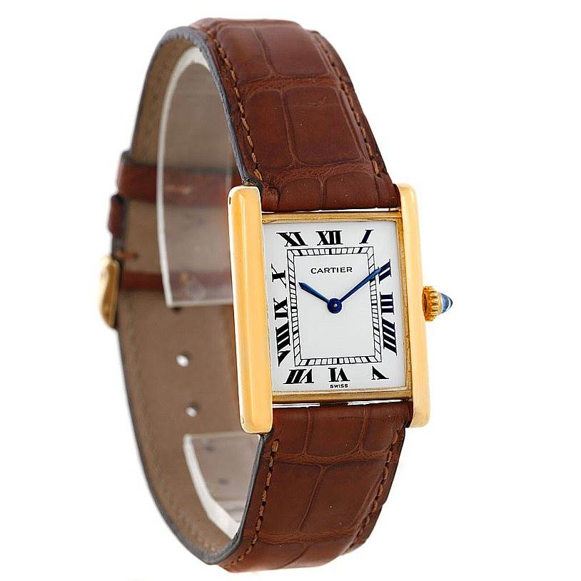 6669 Cartier Tank Classic Vintage 18k Yellow Gold Ultra Thin Mechanical Watch SwissWatchExpo