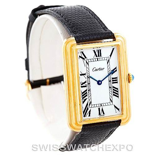 7121 Cartier Mens Vintage Gold Plated Stepped Bezel Watch SwissWatchExpo