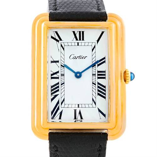 Photo of Cartier Mens Vintage Gold Plated Stepped Bezel Watch