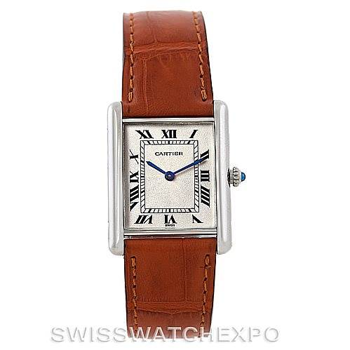 4656 Cartier Tank Classic Paris Mecanique Platinum Mens Watch SwissWatchExpo