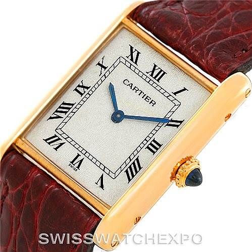 Cartier Tank Classic Paris Ultra Thin Manual 18k Yellow Gold Mens Watch SwissWatchExpo