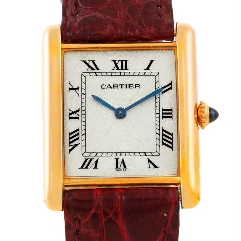 7211 Cartier Tank Classic Paris Ultra Thin Manual 18k Yellow Gold Mens Watch SwissWatchExpo