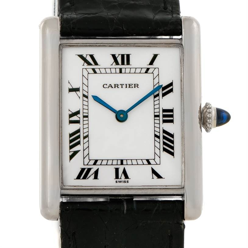 7497 Cartier Tank Classic Vintage 18k White Gold Ultra Thin Mechanical Watch SwissWatchExpo