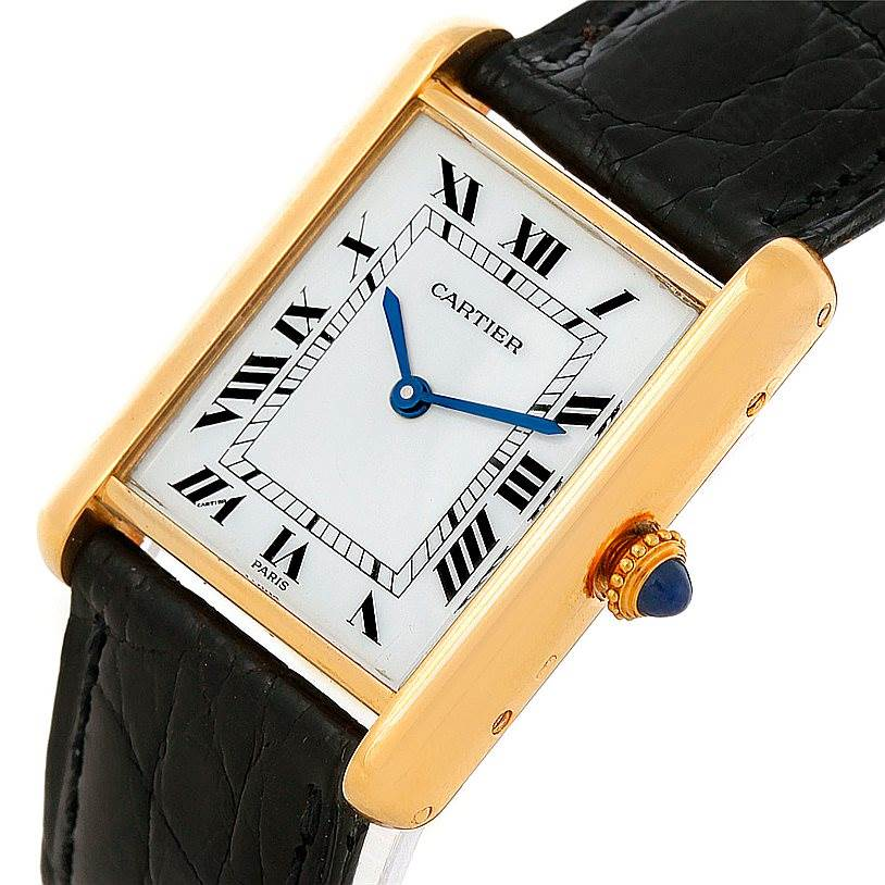 2825 Cartier Tank Classic Paris 18k Yellow Gold Mens Watch SwissWatchExpo