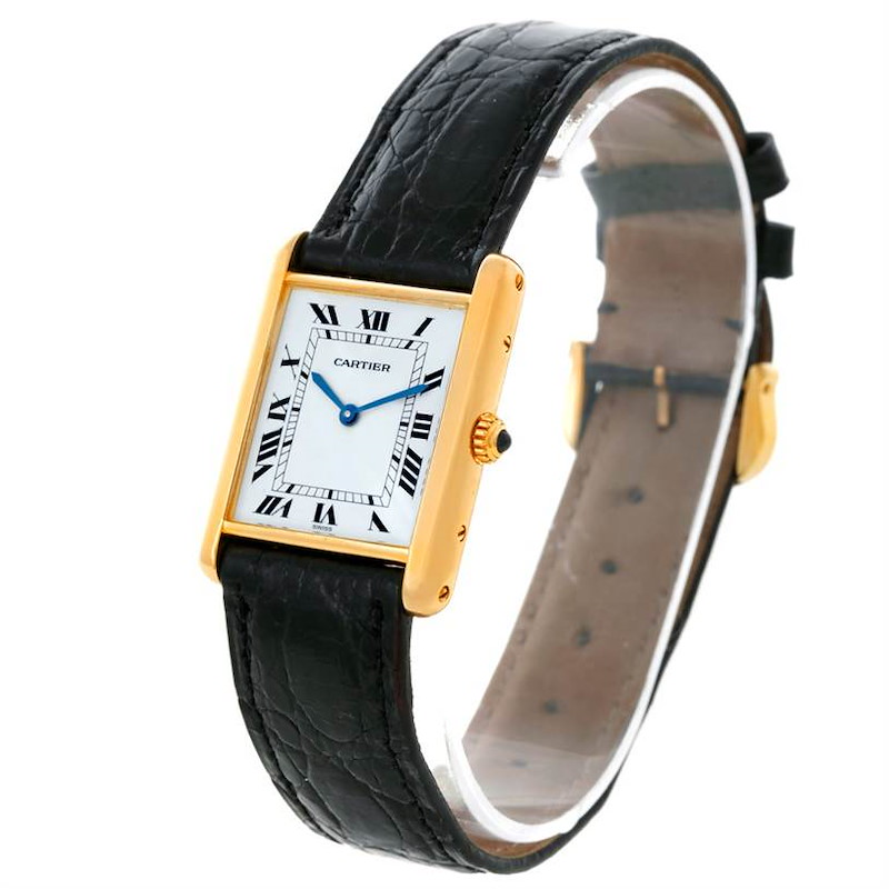 Cartier Tank Classic Paris 18K Yellow Gold Black Strap Quartz Watch SwissWatchExpo