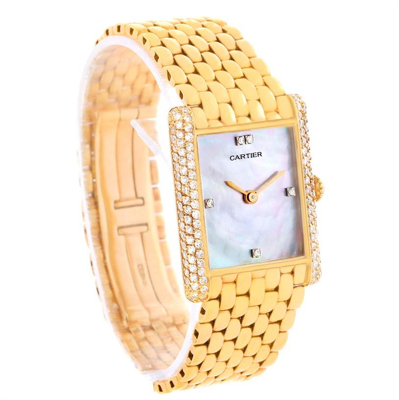 10469 Cartier Tank Classic Paris Yellow Gold Mother of Pearl Diamond Watch SwissWatchExpo
