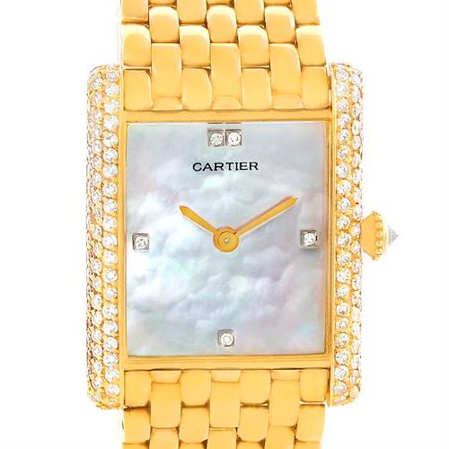 Photo of Cartier Tank Classic Paris Yellow Gold Mother of Pearl Diamond Watch