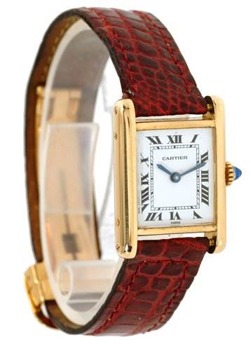 1227WC Cartier Ladies 18k Yellow Gold Tank Classic Watch SwissWatchExpo