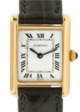 WC511 Cartier Ladies 18k Yellow Gold Tank Classic Watch SwissWatchExpo
