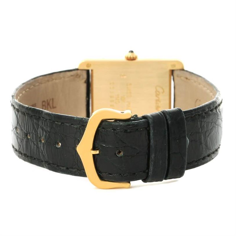 Cartier Tank Classic 18K Yellow Gold Black Strap Quartz Unisex Watch SwissWatchExpo