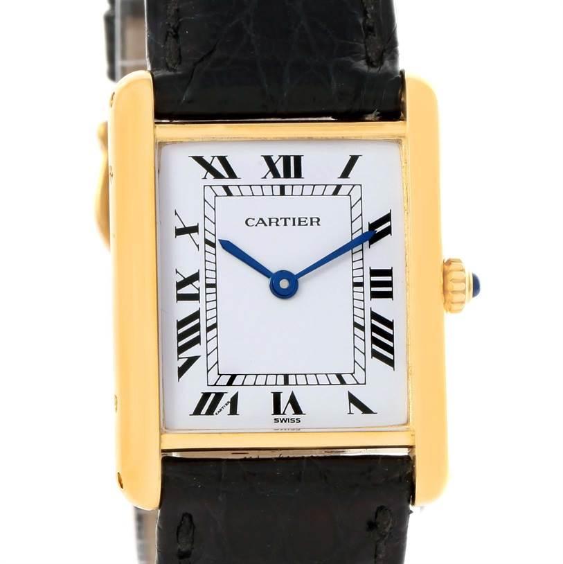 6295 Cartier Tank Classic 18K Yellow Gold Black Strap Quartz Unisex Watch SwissWatchExpo